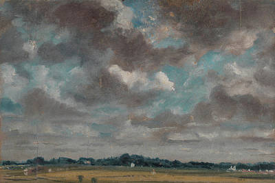 Extensive Landscape With Grey Clouds Poster