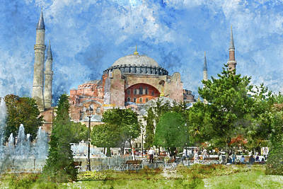 Exterior Of The Hagia Sophia In Sultanahmet, Istanbul Poster by Brandon Bourdages