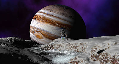 Poster featuring the digital art Falcon Over Europa by David Robinson