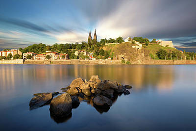 Famous Vysehrad Church During Sunny Day. Amazing Cloudy Sky In Motion. Vltava River, Prague, Czech Republic Poster