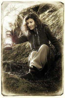 Fantasy Beautiful Woman With Color Light Lamps In The Moss Rocks Poster