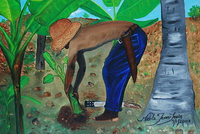Poster featuring the painting Farmer Planting Banana Tree by Nicole Jean-Louis