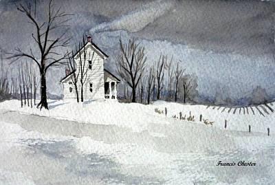 Farmhouse In Winter Poster