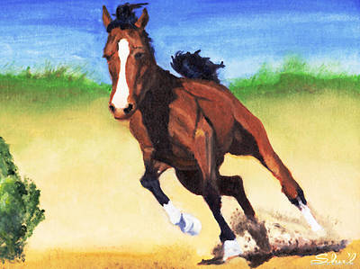 Poster featuring the painting Fast Horse by Sherril Porter