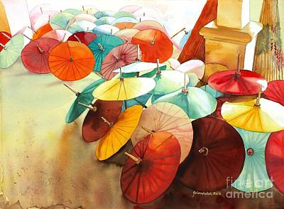 Poster featuring the painting Festive Umbrellas by Yolanda Koh