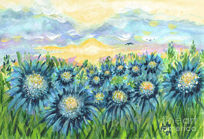 Field Of Blue Flowers Poster by Holly Carmichael