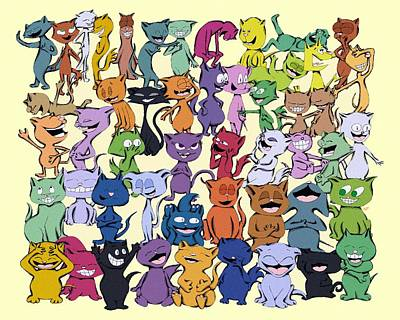 Fifty Happy Cats Poster by Pet Serrano