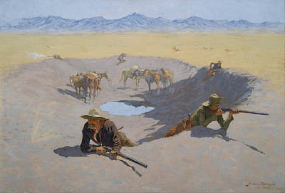 Fight For The Waterhole Poster by Frederic Remington