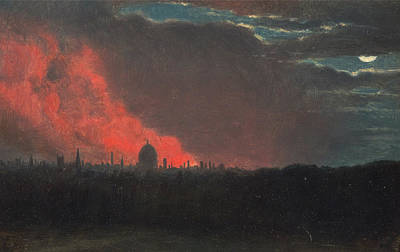 Fire In London, Seen From Hampstead Poster