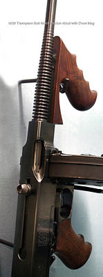 Firearms 1938 Thompson Sub Machine Gun 45cal With Drum Mag Poster by Thomas Woolworth
