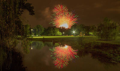 fireworks during Fair St Louis in Forest Park Poster by Garry McMichael