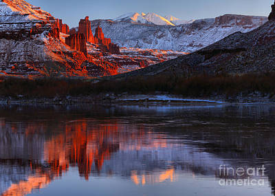 Fisher Towers Sunset Panorama Poster by Adam Jewell