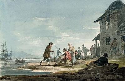 Fishermen At Work On The Foreshore Poster by MotionAge Designs