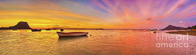 Fishing Boat At Sunset Time. Le Morn Brabant On Background. Pano Poster by MotHaiBaPhoto Prints