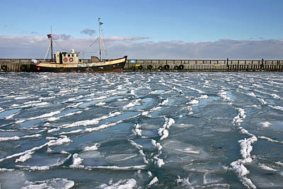 Fishing Boat In Ice At Rungsted Havn / Harbour Poster