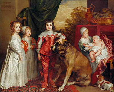Five Eldest Children Of Charles I Poster by Anthony van Dyck