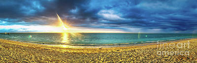 Flic En Flac Beach At Sunset. Panorama Poster by MotHaiBaPhoto Prints