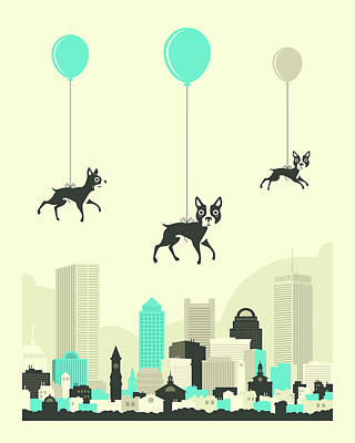 Flock Of Boston Terriers Poster