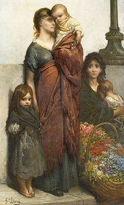 Flower Sellers Of London Poster by Gustave Dore