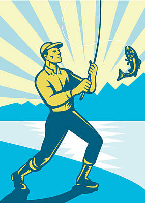 Fly Fisherman Fishing Retro Woodcut Poster by Aloysius Patrimonio
