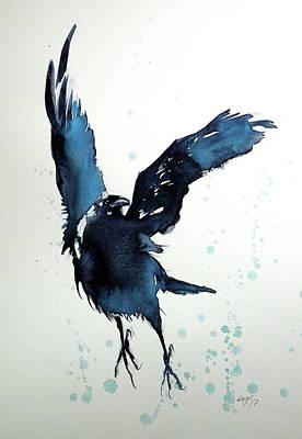Flying Crow Poster by Kovacs Anna Brigitta