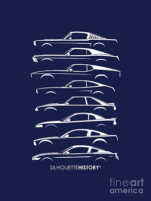 Ford Mustang Silhouettehistory Poster
