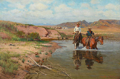 Fording The Bighorn Poster by Richard Lorenz