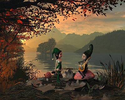 Forest Elves A Sunset Poster