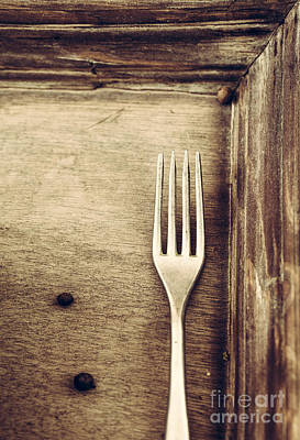 Fork And Wood Poster by Mythja Photography
