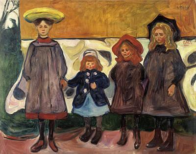Four Girls In Asgardstrand Poster by Edvard Munch