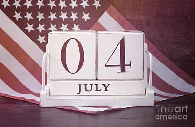 Fourth Of July Vintage Wood Calendar With Flag Background.  Poster by Milleflore Images
