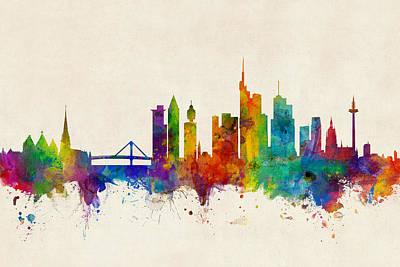 Frankfurt Germany Skyline Poster by Michael Tompsett