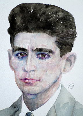 Franz Kafka - Watercolor Portrait Poster by Fabrizio Cassetta