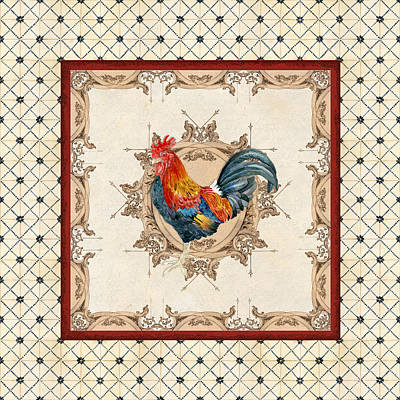 French Country Roosters Quartet Cream 2 Poster by Audrey Jeanne Roberts