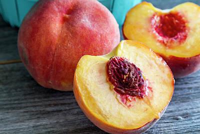 Fresh Peaches Poster by Teri Virbickis