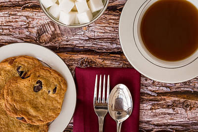 Freshly Baked Chocolate Chip Cookies And Coffee #1 Poster