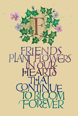Friendship Calligraphy Print Poster by Dave Wood
