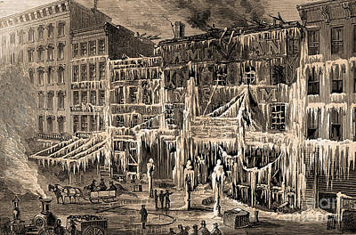 Frozen Remains Of Barnums Museum, 1868 Poster by Science Source