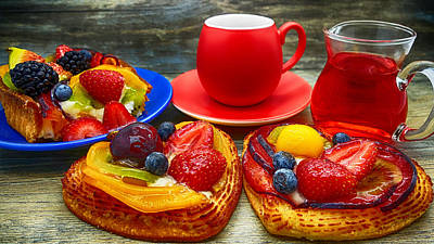 Fruit Desserts And Cup Of Coffee Poster