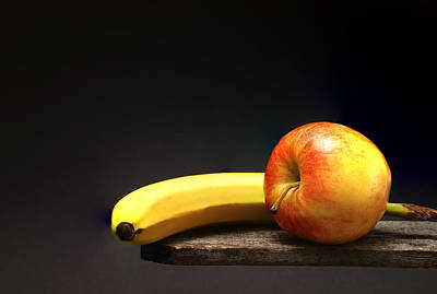 Fruit Still Life - Banana And Apple Poster by Donald Erickson