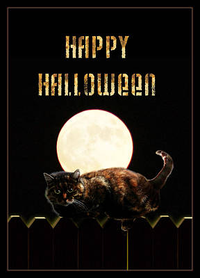 Full Moon Cat Poster by Gravityx9 Designs