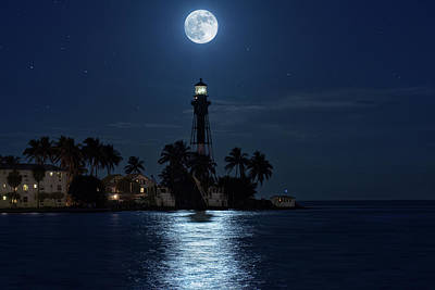 Full Moon Over Hillsboro Lighthouse In Pompano Beach Florida Poster