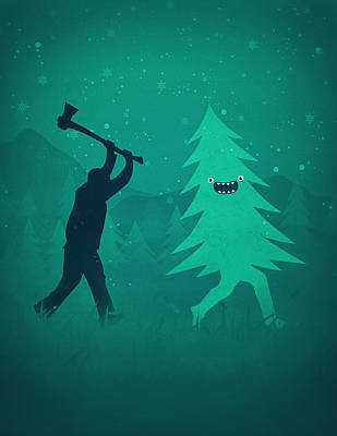 Funny Cartoon Christmas Tree Is Chased By Lumberjack Run Forrest Run Poster