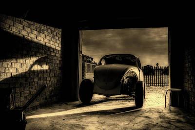 Garage At Sunset Poster