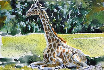 Poster featuring the painting Giraffe by Kovacs Anna Brigitta