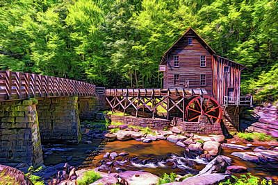 Glade Creek Grist Mill 3 - Paint Poster