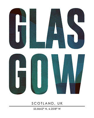 Glasgow City Print With Coordinates Poster