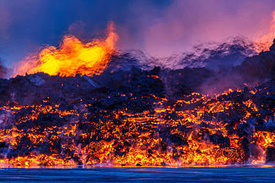 Glowing Lava From The Eruption Poster by Panoramic Images
