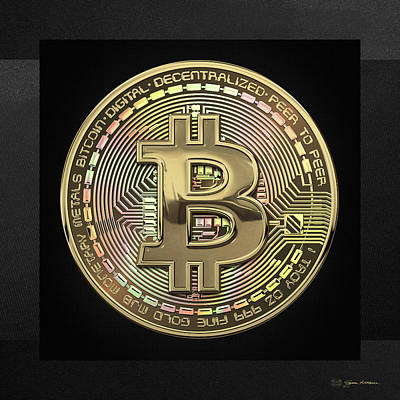 Gold Bitcoin Effigy Over Black Canvas Poster