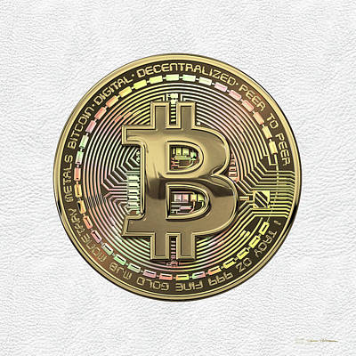 Gold Bitcoin Effigy Over White Leather Poster